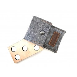 Magnet pins for back numbers in felt case